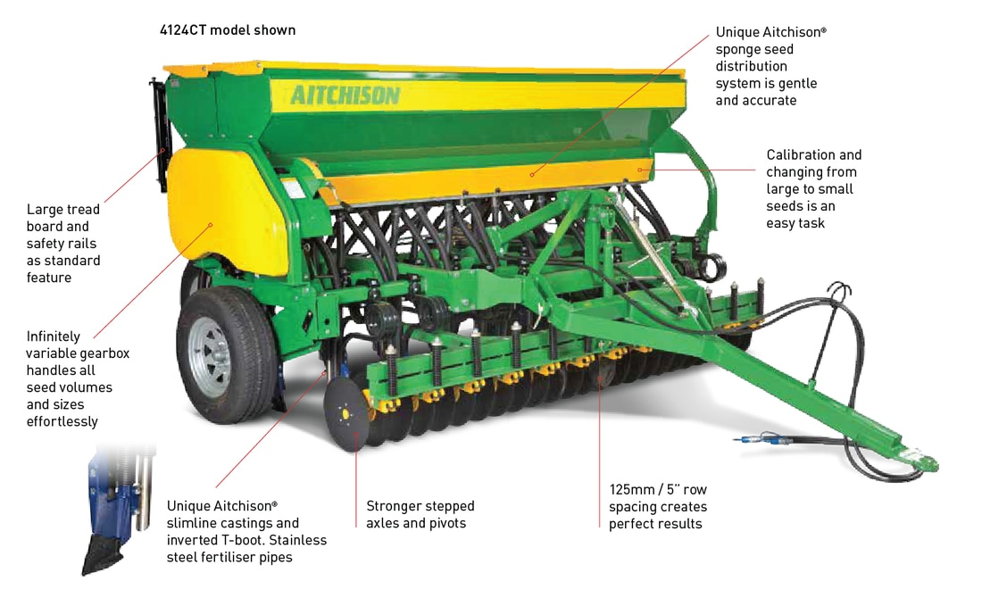 Aitchison Seedmatic Tine Drills - Seed & Fertiliser models Features